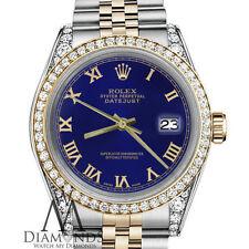 Rolex 31mm Datejust 2 Tone Navy Blue Gold Roman Numeral Diamond 18K & SS Jubilee