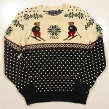Polo Ralph Lauren Boys Pullover Polo Bear Intarsia Hunter Navy Multi Sweater L