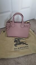 Pre-owned Burberry Small Banner House Check Leather Tote in Pale Orchid