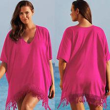 Women Holiday Beach Swimwear Bikini Cover Up Kaftan Summer Boho Mini Sundress