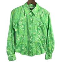 Banana Republic Womens Snap Button Up Shirt Size S Green Floral Long Sleeve