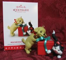 HALLMARK 2016 MEMBERS CAT AND DOG ORNAMENT~MISCHIEVOUS AND LOVING