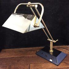 Desk Work Lamp AC Socket Phone Line Modular Plugs Gold Metal Articulating Arm