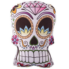 Mexican Floral Sugar Skull Shaped Candy Skeleton White Gothic Cushion 31cm