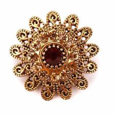 Vintage Crystal Rhinestones Flower Brooch Pins for Women in Antique Gold Plated