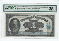 1920  Newfoundland,  NF-12d : $1 Note, SN# A349733 Ren/Bro PMG VF-25