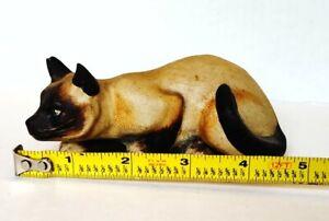 "Vaillancourt Folk Art Early Siamese Cat #23 Signed 5""×2.5"" 1987"