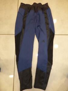Adidas Climalite black/blue gym / running leggings trousers, high waist UK 16-18