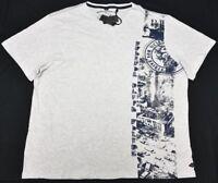 Buffalo David Bitton T-Shirt Men's NYLARD V-Neck Graphic Tee Heather White P041