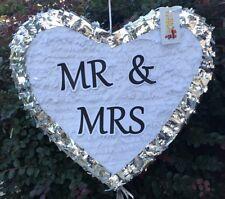 APINATA4U Mr & Mrs Wedding Heart Pinata White Color & Silver Trim