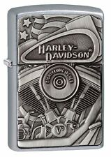 Zippo HD Harley Davidson Engine Emblem Street Chrome Windproof Lighter 29266 NEW