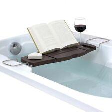 Aquala Bathtub Caddy Walnut Finish Bamboo Adjustable Tray Soap Wine Book