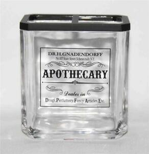 Apothecary Dr. H.GNADENDORFF Black Print Glass Rectangle Toothbrush Holder NEW