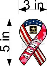 Pink Camo Army Ribbon Vinyl Decal For Car Truck New Style Free Shipping!