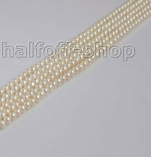 Wholesale 4-5mm White Natural Pearl Beads Strands Button Round