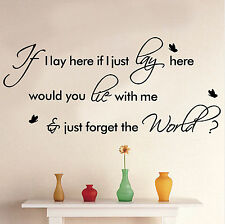 """Snow Patrol """"Chasing Cars"""" Song Lyrics/quote/VINYL WALL DECAL """"If I Lay Here."""" W"""