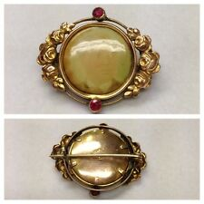 Antique Brooch Foam Gold Double Gold Plated with Ruby