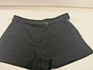 Teen Black Tailored Polyester Belted Short Shorts Sz Large Forever 21 Front Zip