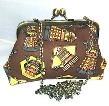 Dr Who Dalek steampunk  gold bronze HANDBAG CLUTCH alternative prom party geek