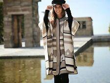 ZARA Aztec Print Wool Blanket Cream Mink Cape Coat M 8 10 12 14 16 One Size BNWT