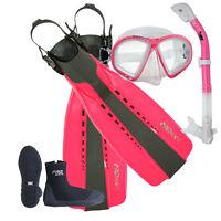 Lady Pink Scuba Dive Purge Mask Dry Snorkel Zipper Boots Open Heel Fins Set