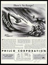 1943 death hand pointing at Hitler Tojo Mussolini art Philco vintage print ad