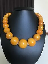 Old, rich yellow color Baltic Amber necklace/beads (96.3 g.) 315E