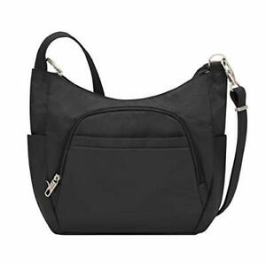 [RFID Blocking] Travelon Anti-Theft Cross-Body Bucket Bag, Black, One Size