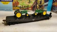 Athearn John Deere ~ HO flat car for train set,  model b tractor load - new
