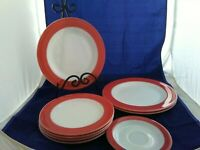 "8 Vintage Pink Pyrex Flamingo Rim pieces-four-8"" Salad, three-10"" Plates, saucer"