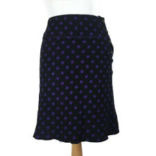 Hobbs Black Purple Spotted Pure Wool Knee Length Smart Skirt Size 10
