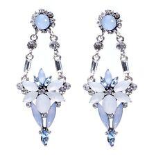NEW ZARA BEAUTIFUL PALE BLUE WHITE CLEAR STONES  2 3/4'' DROP DANGLE EARRINGS
