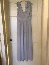 Ex Marks And Spencer Light Grey Long Ball / Evening Dress With Ties