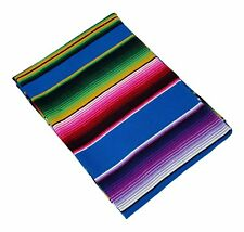Classic El Paso Native Sarape Serape Turquoise 5'x7' Mexico Yoga Throw Blanket