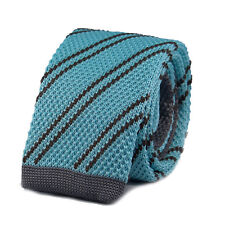 New Luxury Mens 2 Tone Light Blue Grey Striped Woven Tie (Necktie Knitted Skinny