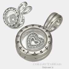 Authentic Pandora Sterling Silver Floating Locket CZ Heart Pendant 792144CZ