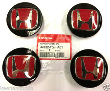 Genuine OEM Honda Set of 4 Black w/ Red Center Caps 44732-TGH-A01 Type R Cap