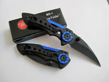 Black&Blue Folding Knife Pocket Saber Survival Rescue Camping Fishing Travel NEW
