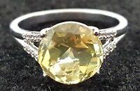 Sterling silver & citrine vintage Art Deco antique ring - size Q