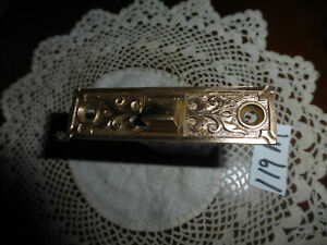 Vintage Antique Mortise Ornate Brass Face Plate 119 M