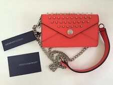 NWT REBECCA MINKOFF Mini Wallet on a Chain Studs Clutch Saffaino Leather Orange