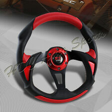 Universal 320MM Type-B Black/Red PVC Leather 6 Hole Racing Steering Wheel