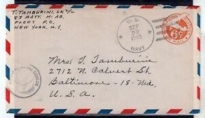 USA = WW2 1943 U.S. NAVY 6c Air Mail cover. Naval Censor cachet. . (Jy20qo)
