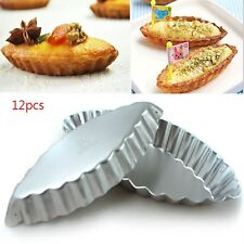 12x Reusable&High Qulity Egg Tart Boat Mould Cupcake Jelly Liner Baking Tins Pan