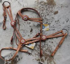 Beaded Light Oil Leather Western Horse Headstall & Breast Collar Set NEW