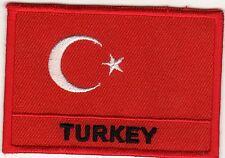 Aufnäher Bügelbild Iron on Patches Flagge Fahne Türkei Turkey Land Nation (a3c4)