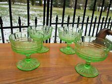 Art Deco Vaseline Depression Glass Ribbed Sherry Wine Cocktail Glasses Set 4
