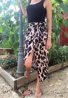John Zack Leopard print wrap over aysmmetric Skirt