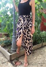 John Zack Leopard print wrap over aysmmetric Skirt
