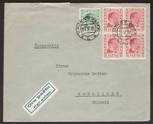 1938 Lithuania air mail letter sent from Kaunas to Switzerland